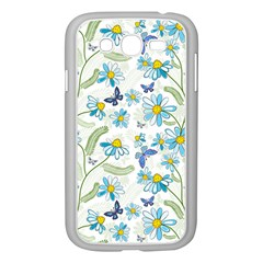Flower Blue Butterfly Leaf Green Samsung Galaxy Grand Duos I9082 Case (white)
