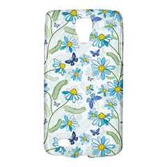 Flower Blue Butterfly Leaf Green Galaxy S4 Active
