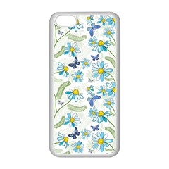 Flower Blue Butterfly Leaf Green Apple Iphone 5c Seamless Case (white)