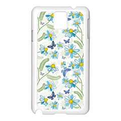 Flower Blue Butterfly Leaf Green Samsung Galaxy Note 3 N9005 Case (white)