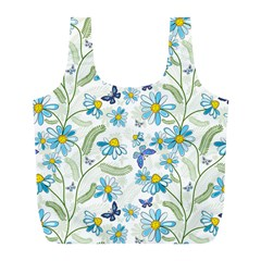 Flower Blue Butterfly Leaf Green Full Print Recycle Bags (l)