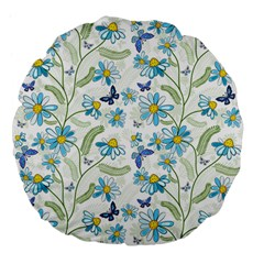 Flower Blue Butterfly Leaf Green Large 18  Premium Flano Round Cushions