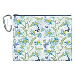 Flower Blue Butterfly Leaf Green Canvas Cosmetic Bag (xxl)