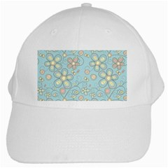 Flower Blue Butterfly Bird Yellow Floral Sexy White Cap