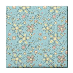 Flower Blue Butterfly Bird Yellow Floral Sexy Tile Coasters