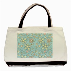 Flower Blue Butterfly Bird Yellow Floral Sexy Basic Tote Bag