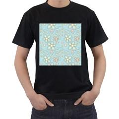 Flower Blue Butterfly Bird Yellow Floral Sexy Men s T Shirt (black)