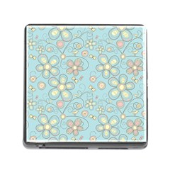 Flower Blue Butterfly Bird Yellow Floral Sexy Memory Card Reader (square)