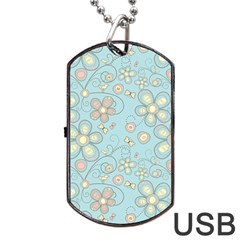 Flower Blue Butterfly Bird Yellow Floral Sexy Dog Tag Usb Flash (two Sides)