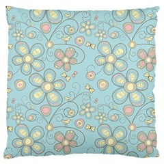 Flower Blue Butterfly Bird Yellow Floral Sexy Large Cushion Case (one Side)
