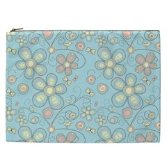 Flower Blue Butterfly Bird Yellow Floral Sexy Cosmetic Bag (xxl)