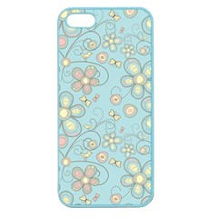 Flower Blue Butterfly Bird Yellow Floral Sexy Apple Seamless Iphone 5 Case (color)