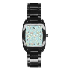 Flower Blue Butterfly Bird Yellow Floral Sexy Stainless Steel Barrel Watch