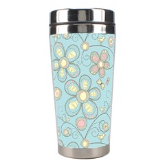 Flower Blue Butterfly Bird Yellow Floral Sexy Stainless Steel Travel Tumblers