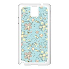 Flower Blue Butterfly Bird Yellow Floral Sexy Samsung Galaxy Note 3 N9005 Case (white)