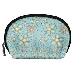 Flower Blue Butterfly Bird Yellow Floral Sexy Accessory Pouches (large)