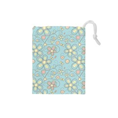 Flower Blue Butterfly Bird Yellow Floral Sexy Drawstring Pouches (small)