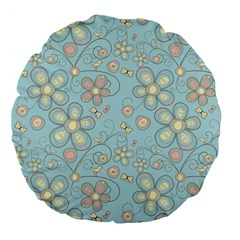 Flower Blue Butterfly Bird Yellow Floral Sexy Large 18  Premium Flano Round Cushions