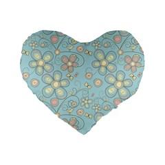 Flower Blue Butterfly Bird Yellow Floral Sexy Standard 16  Premium Flano Heart Shape Cushions