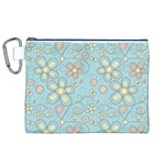 Flower Blue Butterfly Bird Yellow Floral Sexy Canvas Cosmetic Bag (XL) Front