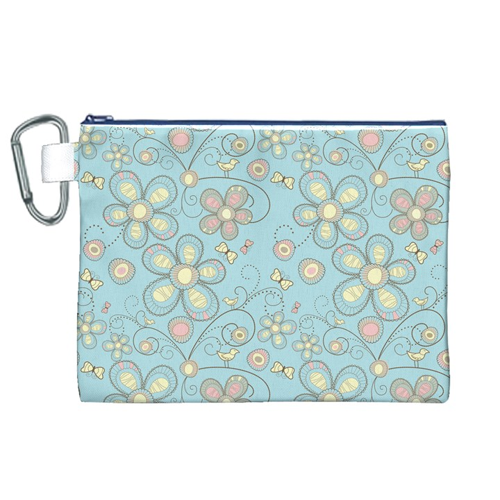 Flower Blue Butterfly Bird Yellow Floral Sexy Canvas Cosmetic Bag (XL)