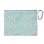 Flower Blue Butterfly Bird Yellow Floral Sexy Canvas Cosmetic Bag (XL) Back