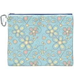 Flower Blue Butterfly Bird Yellow Floral Sexy Canvas Cosmetic Bag (xxxl)