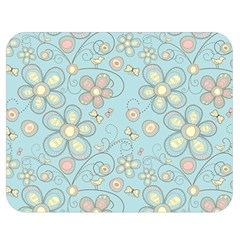 Flower Blue Butterfly Bird Yellow Floral Sexy Double Sided Flano Blanket (medium)