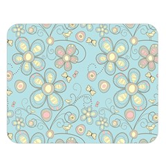 Flower Blue Butterfly Bird Yellow Floral Sexy Double Sided Flano Blanket (large)