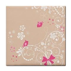 Flower Bird Love Pink Heart Valentine Animals Star Tile Coasters