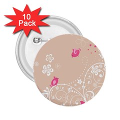 Flower Bird Love Pink Heart Valentine Animals Star 2 25  Buttons (10 Pack)