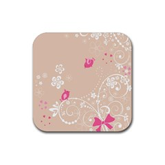 Flower Bird Love Pink Heart Valentine Animals Star Rubber Coaster (square)