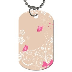 Flower Bird Love Pink Heart Valentine Animals Star Dog Tag (two Sides)