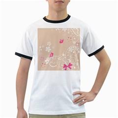 Flower Bird Love Pink Heart Valentine Animals Star Ringer T Shirts