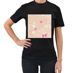 Flower Bird Love Pink Heart Valentine Animals Star Women s T Shirt (black) (two Sided)