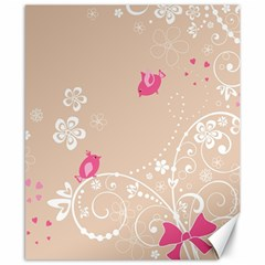 Flower Bird Love Pink Heart Valentine Animals Star Canvas 8  X 10