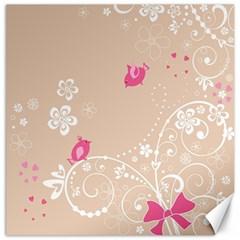 Flower Bird Love Pink Heart Valentine Animals Star Canvas 12  X 12