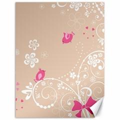 Flower Bird Love Pink Heart Valentine Animals Star Canvas 18  X 24