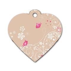 Flower Bird Love Pink Heart Valentine Animals Star Dog Tag Heart (one Side)