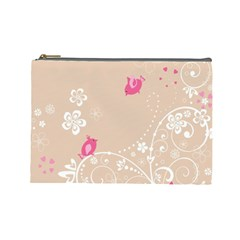 Flower Bird Love Pink Heart Valentine Animals Star Cosmetic Bag (large)