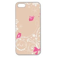 Flower Bird Love Pink Heart Valentine Animals Star Apple Seamless Iphone 5 Case (clear)