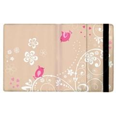Flower Bird Love Pink Heart Valentine Animals Star Apple Ipad 3/4 Flip Case