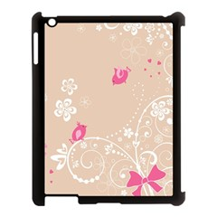 Flower Bird Love Pink Heart Valentine Animals Star Apple Ipad 3/4 Case (black)