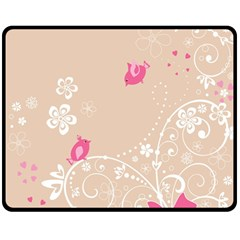 Flower Bird Love Pink Heart Valentine Animals Star Double Sided Fleece Blanket (medium)