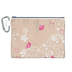 Flower Bird Love Pink Heart Valentine Animals Star Canvas Cosmetic Bag (xl)