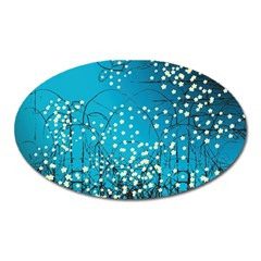 Flower Back Leaf River Blue Star Oval Magnet