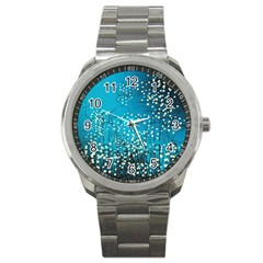 Flower Back Leaf River Blue Star Sport Metal Watch