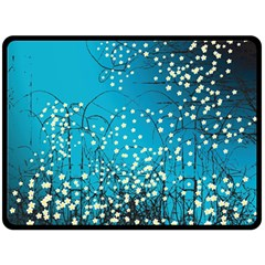 Flower Back Leaf River Blue Star Fleece Blanket (large)