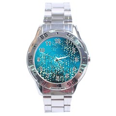 Flower Back Leaf River Blue Star Stainless Steel Analogue Watch