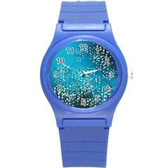 Flower Back Leaf River Blue Star Round Plastic Sport Watch (s)